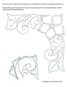 Free Leathercraft Pattern Western Style Corner Carving This free leathercraft pattern is used in our fundamentals of leathercraft video series. Leather Engraving, Leather Carving, Leather Art, Leather Books, Custom Leather, Leather Tooling, Handmade Leather, Leather Jewelry, Leather Craft Tools