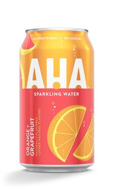 Orange + Grapefruit Sparkling Water | AHA Sparkling Waters, Happy Easter Everyone, Drink Labels, Beverage Packaging, Food Staples, Natural Flavors, Grapefruit, Coca Cola