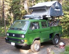 1990 Volkswagen DOKA Double Cab Transporter Syncro 16 Truck For Sale Green Adventure Vehicle with Tent and Bikes Transporter T3, Volkswagen Transporter, Volkswagen Bus, Vw Camping, Off Road Camping, Glamping, 4x4 Trucks For Sale, T3 Camper, Mini Camper