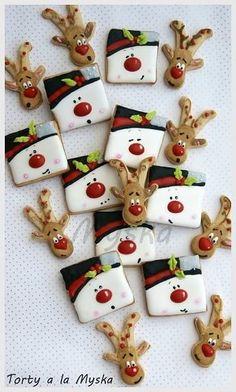 DIY Ideas of Simple Christmas Cookies, Christmas Decoritions, Christmas Crafts,Christmas gifts,Christmas cookies Christmas Sugar Cookies, Christmas Sweets, Christmas Cooking, Noel Christmas, Holiday Cookies, Holiday Treats, Simple Christmas, Christmas Crafts, Reindeer Cookies