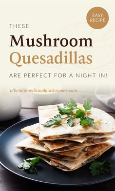 Looking for quick and filling lunch ideas for work? Try whipping this delicious better-than-takeout mushroom quesadilla at home. This savory and spicy quesadilla recipe also makes for a great party food.| Discover more healthy mushroom recipes at ultimatemedicinalmushrooms.com Dinner Recipes Easy Quick, Healthy Dinner Recipes, Easy Meals, Mexican Tortilla Soup, Marsala Recipe, Homemade Guacamole, Stuffed Mushrooms, Stuffed Peppers, Make Ahead Lunches