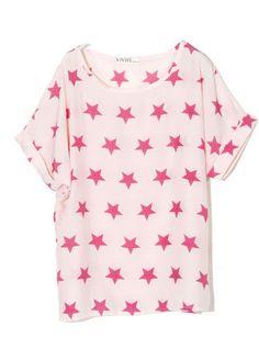 SheInside : Pink Stamped Star Print Scoop Neck Turn Up Short Sleeve T-shirt $32.00