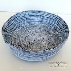 Papirskål no.3. Paper bowl no.3  #Newspaperweaving #Newspaper #papirfletting #kurv #decor #pynteting #kurver #oppbevaring #storage #snoravndesign