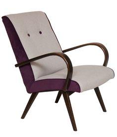 Restored Grey & Purple Armchair by 'Jindrich Halabala'