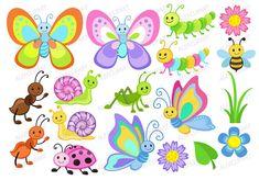 Cute bugs Clipart and Digital Paper Set por pixelpaperprints Insect Clipart, Butterfly Clip Art, Cartoon Butterfly, Classroom Crafts, Flower Clipart, Digital Stamps, Cute Cartoon, Planner Stickers, Scrapbook Stickers
