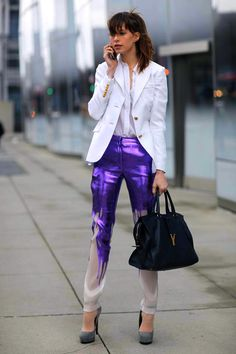 Printed pants are one of this spring's hottest trends, but this purple painted pair may just take the cake.