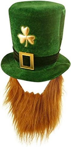 2c199744a19 Fancy Dress Party Accessory St. Patrick s Green Day Velvet Shamrock Beard   amp  Hat Adult