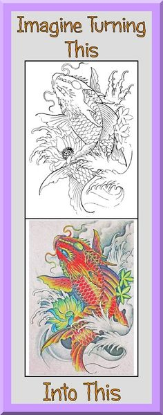 Clear sharp outlines. This Koi fish coloring book is $4.99 at Etsy. More printable coloring book pages for adults and big kids at https://coloringbookspages.etsy.com