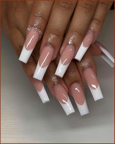 Acrylic Nails Coffin Pink, French Tip Acrylic Nails, Short Square Acrylic Nails, Summer Acrylic Nails, Edgy Nails, Fancy Nails, Stylish Nails, Long French Tip Nails, Long Nails