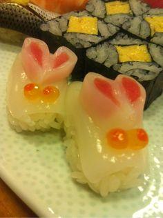 Rabbit Shaped Sushi (Squid Body, Salmon Roe Eyes and Maguro Tuna Ears)