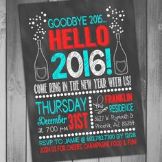 New Years Eve Invitation Chalkboard Invitation by CLaceyDesign