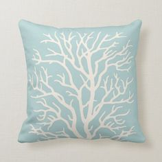 Coral Tree in White on Sea Glass Blue Throw Pillow - tap, personalize, buy right now! #ThrowPillow  #coral #reef #nautical #tropical #ocean Blue Throws, Blue Throw Pillows, Accent Pillows, Custom Pillows, Decorative Pillows, Blue Accents, Dog Design, Coastal Decor, Shades Of Blue