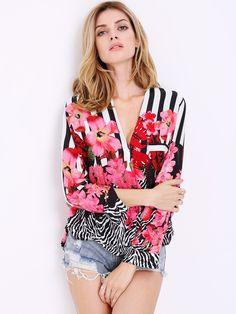 Multicolor Long Sleeve V Neck Floral Blouse