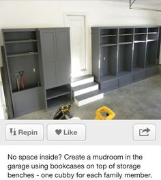 Garage Mudroom- maybe get the bookcases with the doors to help keep insects off our things.  Definitely a future project!