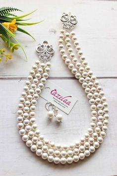 Layered Pearl Necklace, Pearl Statement Necklace, Necklace Chain, Vintage Style, Vintage Fashion, Pearl Jewelry, Pearl White, Earring Set, Gemstone Beads
