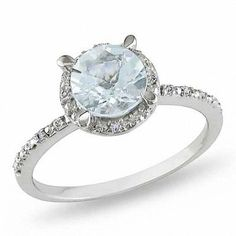 #Valentines #AdoreWe #Zales - #Zales 7.0mm Aquamarine and 1/20 CT. T.w. Diamond Promise Ring in Sterling Silver - AdoreWe.com