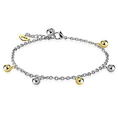 Girls Anklet Heart Beads Dangle Bracelet Stainless Steel * Want to know more, visit http://www.amazon.com/gp/product/B01DE3HVB0/?tag=splendidjewelry07-20&puv=160716012359