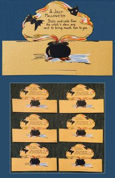 """6 1920s-30s (?) Jolly Halloween Die Cut 5""""x3 1/4"""" Party PLACE CARDS Bats Cats Cauldron ($410 @ ~$68 each) 2017 #vintage #Halloween #collectibles"""