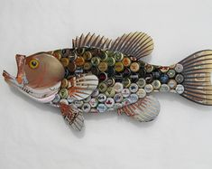 Metal Bottle Cap Fish Wall Art Red Budweiser Large by EricsEasel
