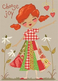 0 point de croix jeune fille rousse - cross stitch red haired young girl Lena Lawson