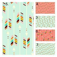 Coral and Mint Arrow Bedding Set, Crib Sheet, Crib Skirt, Bumper, Coral Mint Tribal Nursery