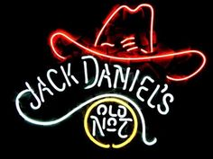 Wall Mural, Jack Daniel's Neon Sign with No. 7 Old Whiskey log, Bar, Mancave, Shop