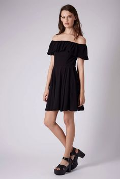 Topshop Black Crinkle Bardot Dress Sz 6 Petite Bnwt £32