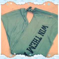 """❄️Victoria Secret Lounge Pants❄️ Blue Victoria secret lounge pants with with """"win them all pink"""" written in navy blue down the left pant leg. Has a draw string, excellent preloved condition, wide leg, from a smoke free home! Victoria's Secret Pants Wide Leg"""