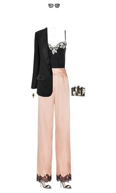 """""""Daytime Pajamas"""" by zimmerglimmer ❤ liked on Polyvore featuring Manolo Blahnik, La Perla, Agent Provocateur, Racil, Smoke & Mirrors, Rauwolf, Jules Smith, Rolex and TrickyTrend"""