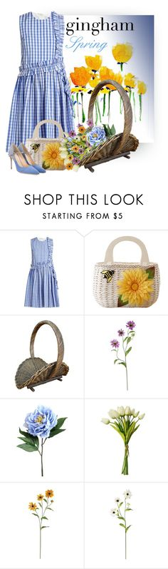 """""""Gingham Dress"""" by constanceann ❤ liked on Polyvore featuring MSGM, Nearly Natural, Jennifer Chamandi, Spring and gingham"""
