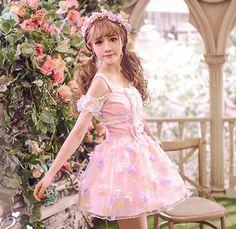 Sweet flower dew shoulder strap princess dress