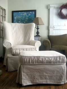 Slipcover Wingback Chair & Ottoman with matching Ruche Trim. The Barefoot Blueberry: