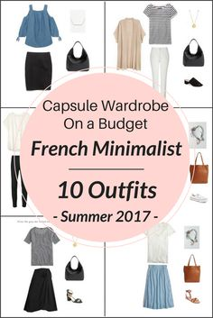 Create a capsulewardrobe on abudget! I'm sharing a few pieces from the French Minimalist Capsule Wardrobe: Summer 2017 collection and showing how you can mix and match those pieces to create several outfits! The collection will transform your closet by turning 26 clothes and shoes into 100 outfit ideas.  A few items are cold shoulder top, wrap skirt, denim skirt, chambray skirt, linen shorts, white tee tshirt, sneakers, cardigan, sandal heels, peplum top, and jeans.
