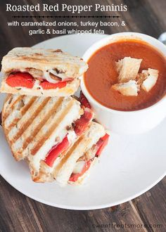 Roasted red pepper paninis with turkey bacon, caramelized onions and ...