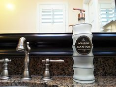 Domaine De Canton frosted bottle re-purposed into a soap dispenser! An elegant and unique piece to add to your kitchen or bath counter! Click photo for purchase info!