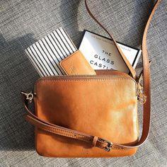 Midweek essentials—Sydney crossbody and striped tab clutch—courtesy of Brown Leather Crossbody Purse, Women's Crossbody Purse, Brown Leather Purses, Brown Purses, Leather Handbags, Fossil Crossbody Bags, Fashion Handbags, Purses And Handbags, Fashion Bags