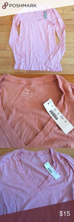 NWT J.Crew Pink Tissue Tee NWT J.Crew Pink Tissue Tee. Brand new, size XS. Super soft material. Vneck long sleeve style. 100% cotton J. Crew Tops Tees - Long Sleeve