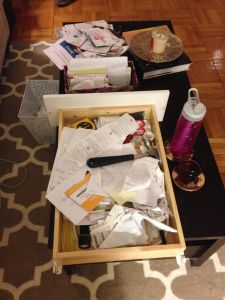Organizing junk drawer and mail bins: before Weekend organizing spree, studio style blog http://studiostyleblog.com/2013/10/14/weekend-organizing-spree/