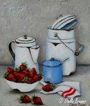 Stella Bruwer - Still Life with Strawberries Tole Painting, Fabric Painting, Painting & Drawing, Stella Art, Country Paintings, Farmhouse Paintings, Still Life Art, Decoupage Paper, Kitchen Art