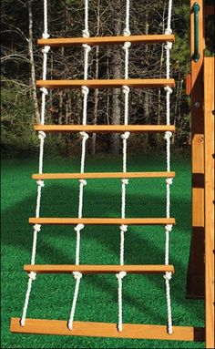 Rope ladder for observation room wall.