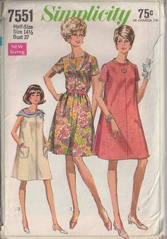 MOMSPatterns Vintage Sewing Patterns - Simplicity 7551 Vintage 60's Sewing Pattern FAB Classic Mod Flared Tent Dress, Casual or Party