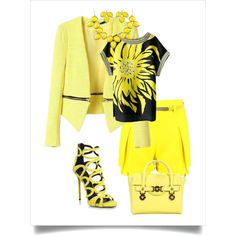 Day in yellow by chicmisses on Polyvore featuring Giuseppe Zanotti and Versace