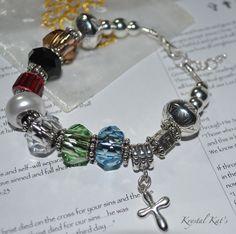 Christian Salvation Bracelet, Pandora Style add a Bead System, Add a Bead Bracelet, BeCharmed Swarovski Crystals Large Beaded Bracelet