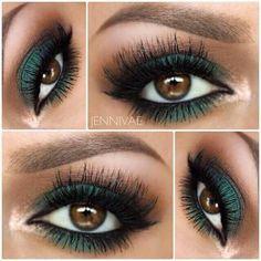 Green eye makeup