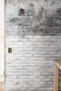 How to Paint an Industrial Faux Brick Wall - Cherished Bliss Faux Brick Panels, Brick Paneling, Painted Brick Fireplaces, Slate Fireplace, Fireplace Furniture, Plywood Furniture, Furniture Decor, Modern Furniture, Furniture Design
