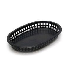 Tablecraft 1076BK Chicago Platter Basket, 10.5 x 7 x 1.5-in, Oval, Black