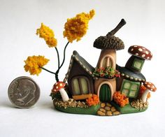 Handmade Miniature WHIMSICAL FAIRY CLUSTER HOUSE - OOAK - by C. Rohal #CRohal