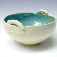 White Serving Bowl handmade pottery bowl ceramic by OneClayBead.  Perfect as a fruit bowl, to encourage healthy eating!  #LGLimitlessDesign  #Contest