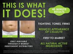 This is what the body wrap does! It helps to tighten, tone and firm the skin wherever applied. It helps reduce the appearance of cellulite. It is a first to market product so no one else in the world has it and you can only get it through It Works! Global Independent Distributors. It's made of all natural active ingredients, which we are finding is extremely important in the market place today. Take a look at the before and after picture.