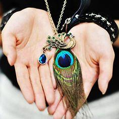 [BlackFridaySale]Women's Peacock Feather Diamond Vintage Necklace - USD $ 2.99